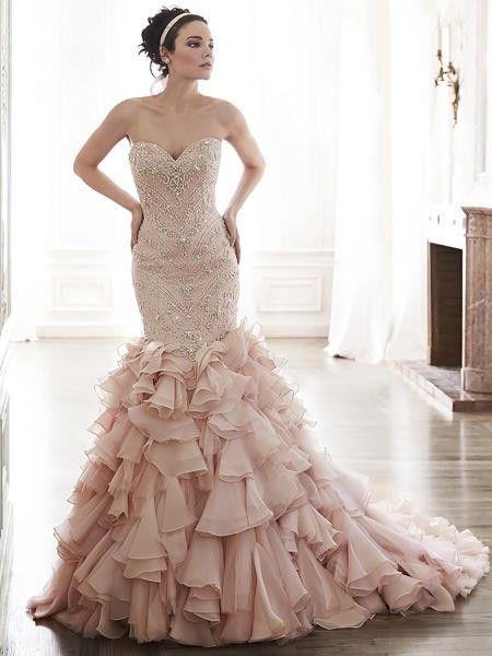 blush colored wedding gown 1