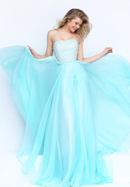 line strapless neckline light blue chiffon beaded prom dress 1